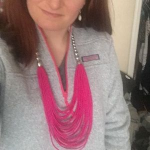 Bright Pink Necklace w/ Earrings